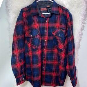 Vtg Allen Wickfield Flannel Wool Shirt Shacket L
